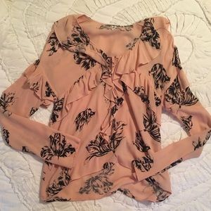 Blush Pink Floral Blouse with Ruffle & Tie Detail